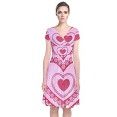 Heart Background Lace Short Sleeve Front Wrap Dress