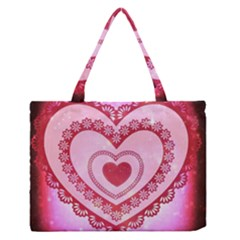 Heart Background Lace Medium Zipper Tote Bag