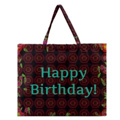 Happy Birthday! Zipper Large Tote Bag