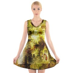 Grunge Texture Retro Design V Neck Sleeveless Skater Dress