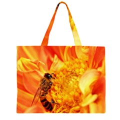 Honey Bee Takes Nectar Zipper Large Tote Bag
