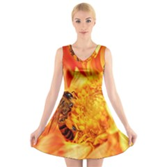 Honey Bee Takes Nectar V Neck Sleeveless Skater Dress