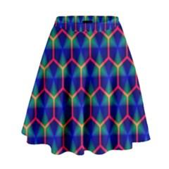 Honeycomb Fractal Art High Waist Skirt