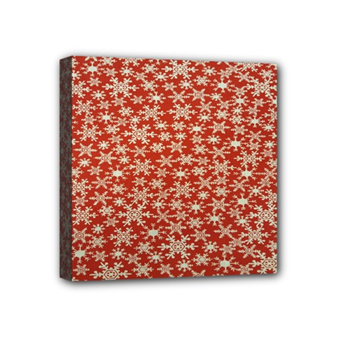 Holiday Snow Snowflakes Red Mini Canvas 4  x 4