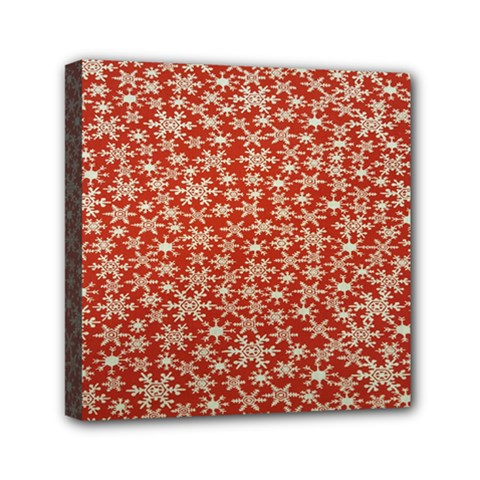 Holiday Snow Snowflakes Red Mini Canvas 6  x 6