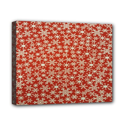 Holiday Snow Snowflakes Red Canvas 10  x 8