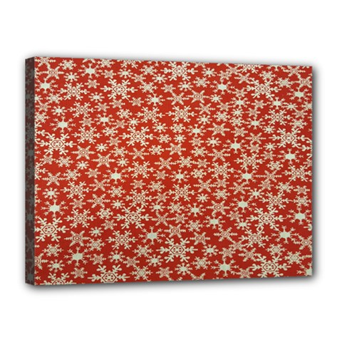 Holiday Snow Snowflakes Red Canvas 16  x 12