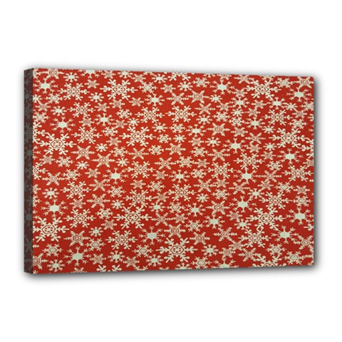 Holiday Snow Snowflakes Red Canvas 18  x 12
