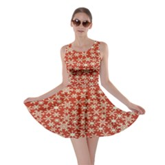 Holiday Snow Snowflakes Red Skater Dress