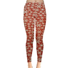 Holiday Snow Snowflakes Red Leggings