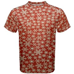 Holiday Snow Snowflakes Red Men s Cotton Tee