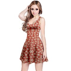 Holiday Snow Snowflakes Red Reversible Sleeveless Dress