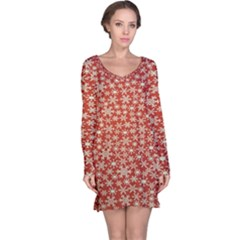 Holiday Snow Snowflakes Red Long Sleeve Nightdress