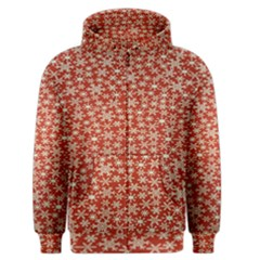 Holiday Snow Snowflakes Red Men s Zipper Hoodie
