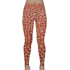 Holiday Snow Snowflakes Red Classic Yoga Leggings