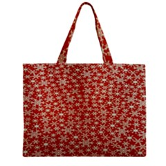 Holiday Snow Snowflakes Red Zipper Mini Tote Bag