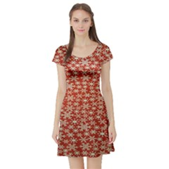 Holiday Snow Snowflakes Red Short Sleeve Skater Dress