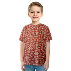 Holiday Snow Snowflakes Red Kids  Sport Mesh Tee
