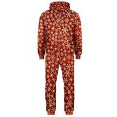 Holiday Snow Snowflakes Red Hooded Jumpsuit (Men)