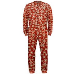 Holiday Snow Snowflakes Red Onepiece Jumpsuit (men)