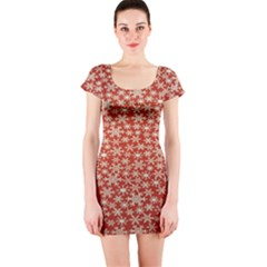 Holiday Snow Snowflakes Red Short Sleeve Bodycon Dress