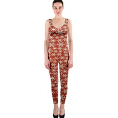 Holiday Snow Snowflakes Red OnePiece Catsuit