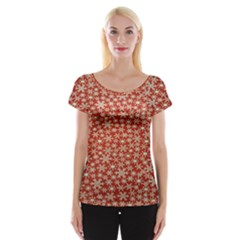 Holiday Snow Snowflakes Red Women s Cap Sleeve Top