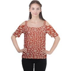 Holiday Snow Snowflakes Red Women s Cutout Shoulder Tee