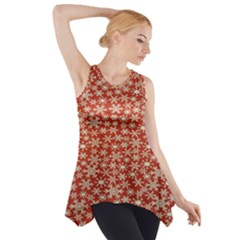 Holiday Snow Snowflakes Red Side Drop Tank Tunic