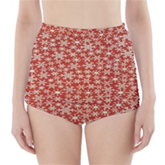 Holiday Snow Snowflakes Red High-Waisted Bikini Bottoms