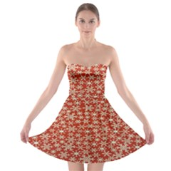 Holiday Snow Snowflakes Red Strapless Bra Top Dress