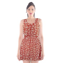 Holiday Snow Snowflakes Red Scoop Neck Skater Dress