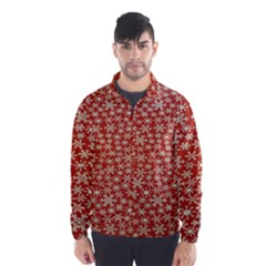 Holiday Snow Snowflakes Red Wind Breaker (Men)