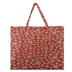 Holiday Snow Snowflakes Red Zipper Large Tote Bag