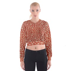 Holiday Snow Snowflakes Red Women s Cropped Sweatshirt