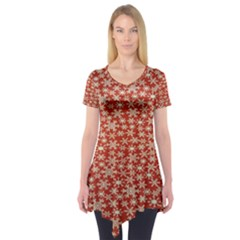 Holiday Snow Snowflakes Red Short Sleeve Tunic