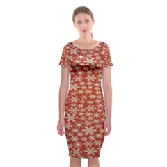 Holiday Snow Snowflakes Red Classic Short Sleeve Midi Dress