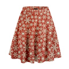 Holiday Snow Snowflakes Red High Waist Skirt