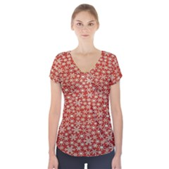 Holiday Snow Snowflakes Red Short Sleeve Front Detail Top