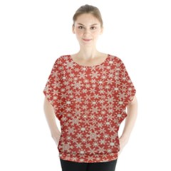 Holiday Snow Snowflakes Red Blouse