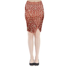 Holiday Snow Snowflakes Red Midi Wrap Pencil Skirt
