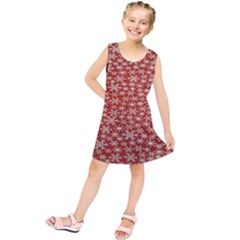 Holiday Snow Snowflakes Red Kids  Tunic Dress
