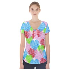 Holidays Occasions Valentine Short Sleeve Front Detail Top