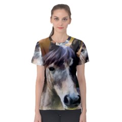 Horse Horse Portrait Animal Women s Sport Mesh Tee