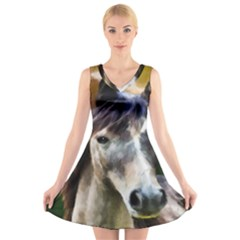 Horse Horse Portrait Animal V Neck Sleeveless Skater Dress
