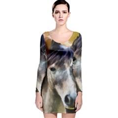 Horse Horse Portrait Animal Long Sleeve Velvet Bodycon Dress