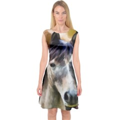 Horse Horse Portrait Animal Capsleeve Midi Dress
