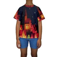 Market Christmas Light Kids  Short Sleeve Swimwear