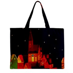 Market Christmas Light Zipper Mini Tote Bag