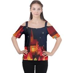 Market Christmas Light Women s Cutout Shoulder Tee